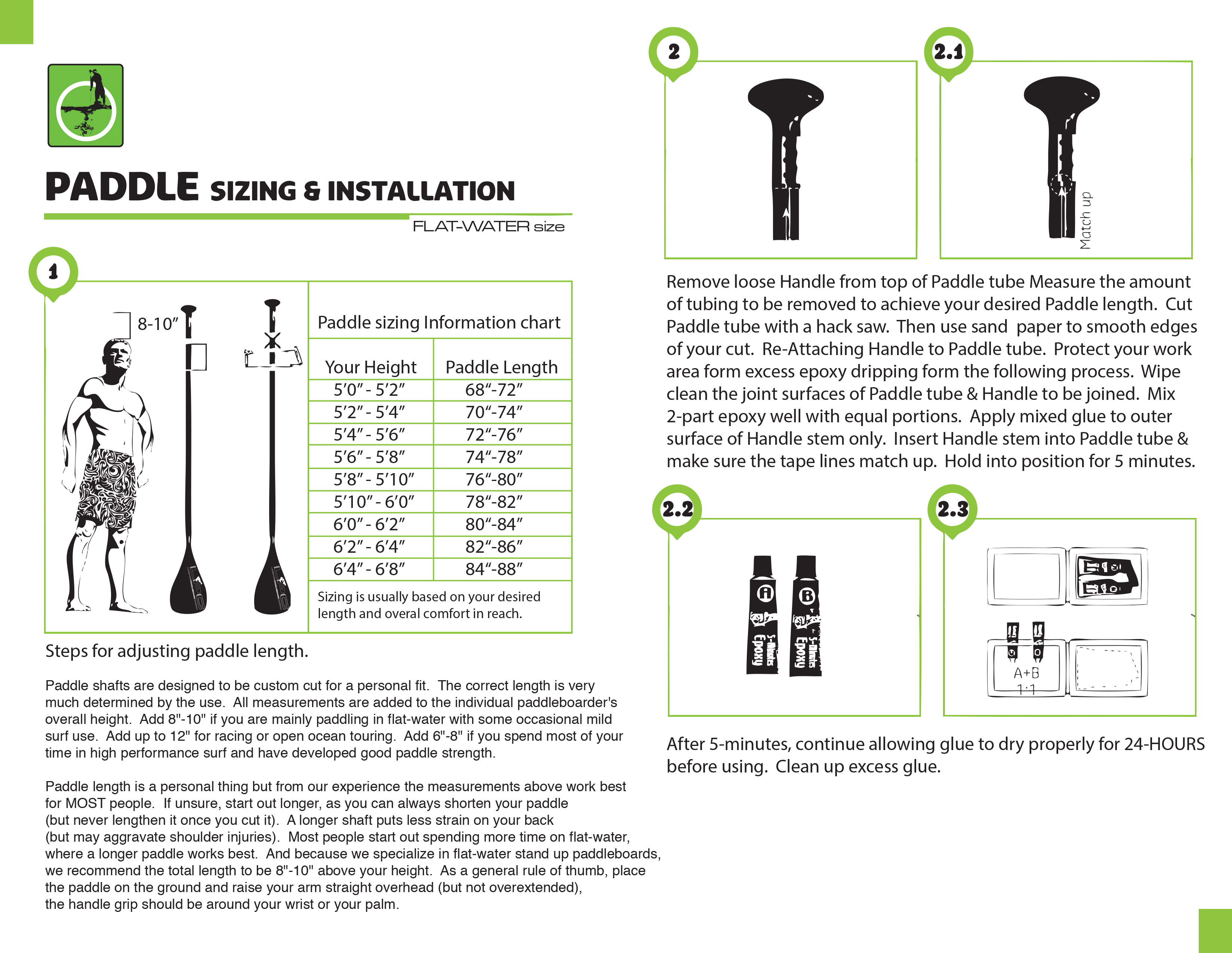 How to find the right height for your new carbon fiber paddle. And how to install that handle the right way!